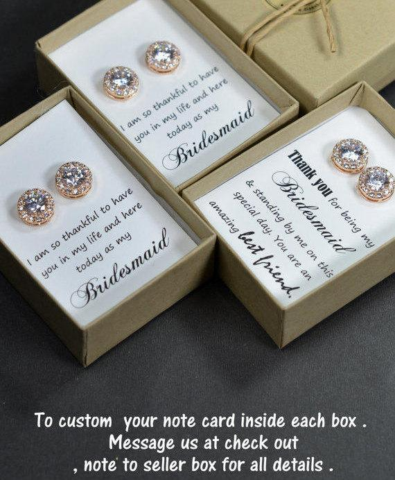 Hochzeit - Rose gold,Bridesmaids Earrings,Personalized Bridesmaids Gift,Crystal Stud Earrings,Bridesmaids Gifts,Spring Wedding ,be my bridesmaid card