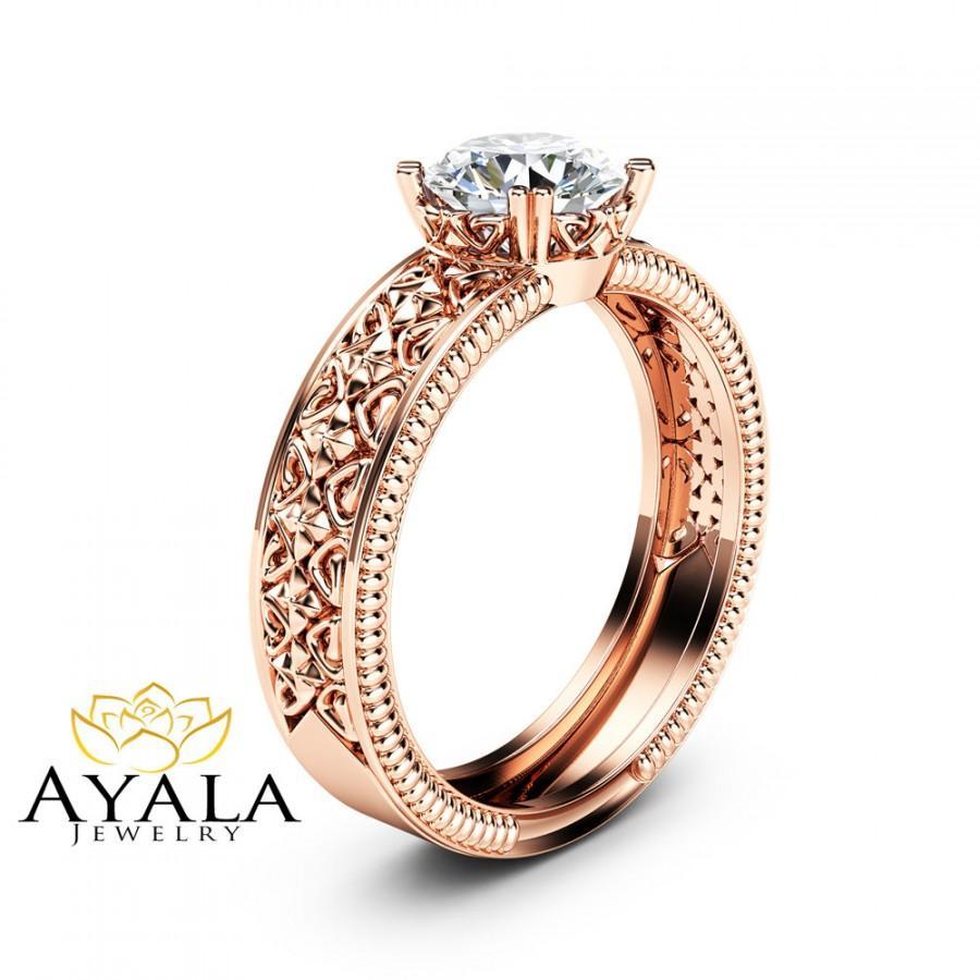 Hochzeit - Solitaire Moissanite Engagement Ring Solid 14K Rose Gold Engagement Ring Milgrain Moissanite Ring