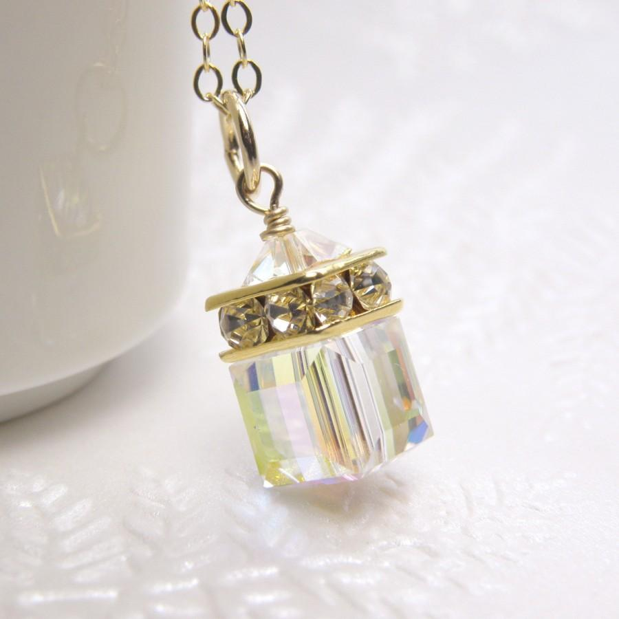 Wedding - Clear Crystal Cube Necklace, Gold Filled, Swarovski Pendant, Modern Bride Wedding Jewelry, Bridal Bridesmaid Necklace, April Birthday Gift