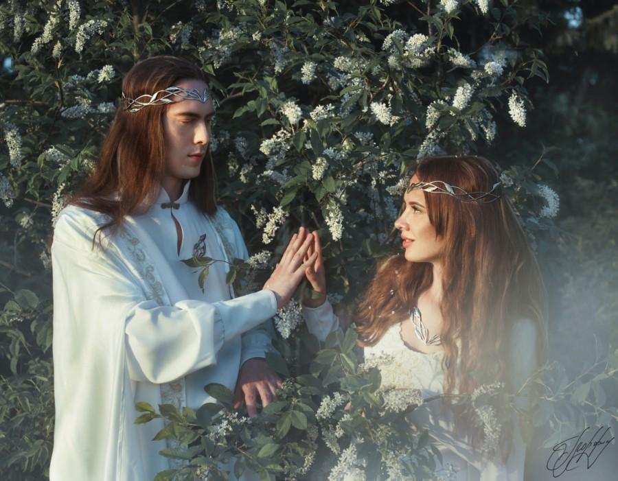 Boda - Bridal headpiece tiara Elf Leaf Crown elvish wedding men's diadem Artanis