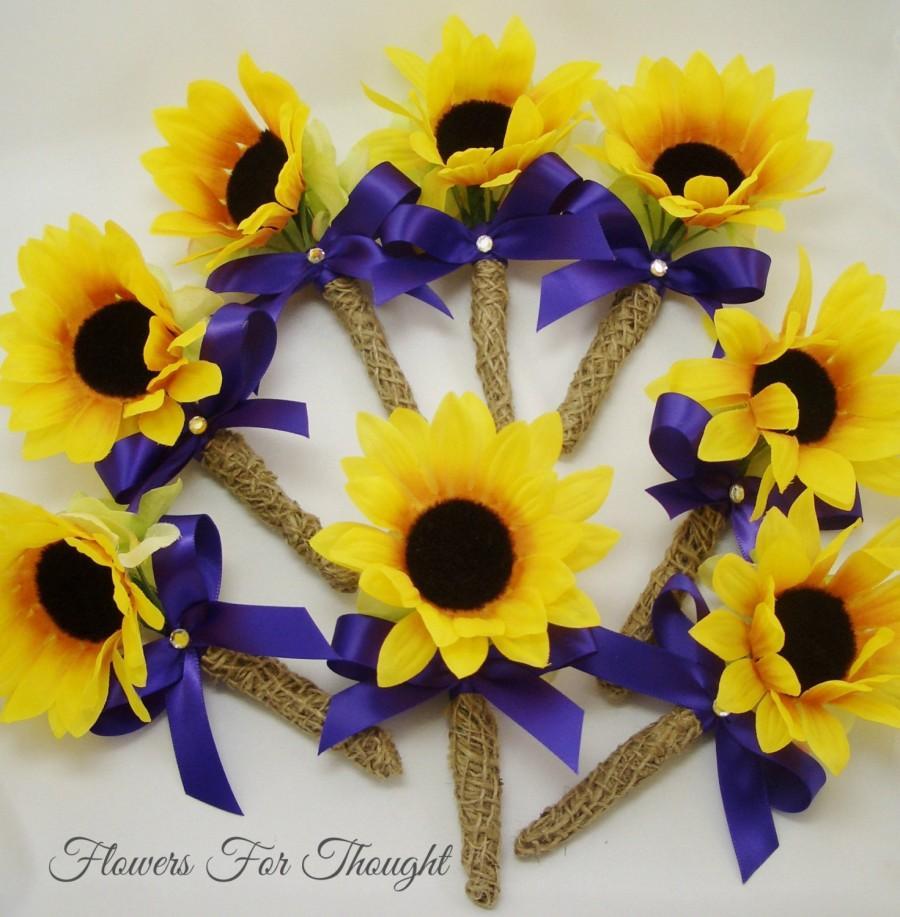 Sunflower And Burlap Boutonniere Groomsmen Buttonhole Flower 1