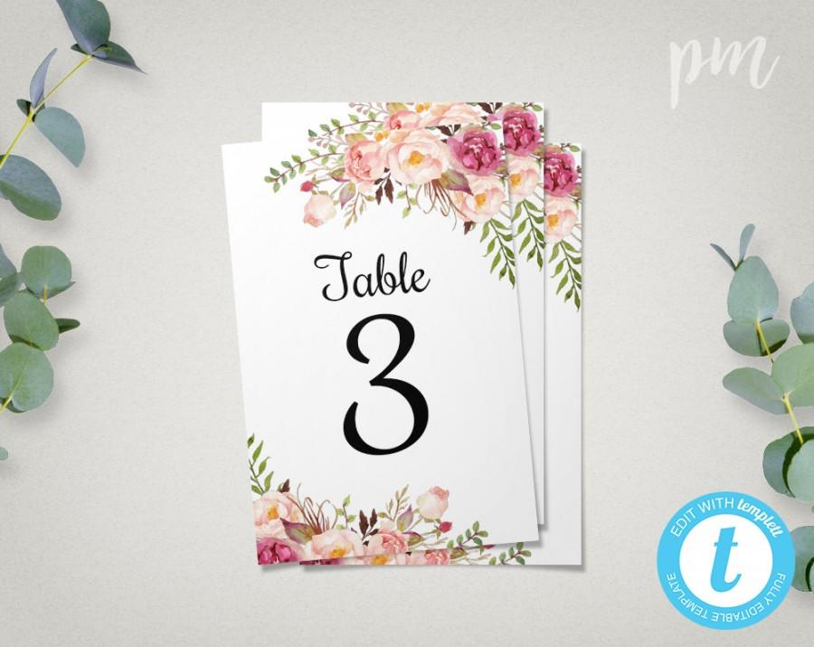 Floral wedding table numbers template 4x6 printable table number cards with flowers easy to for Wedding table numbers template