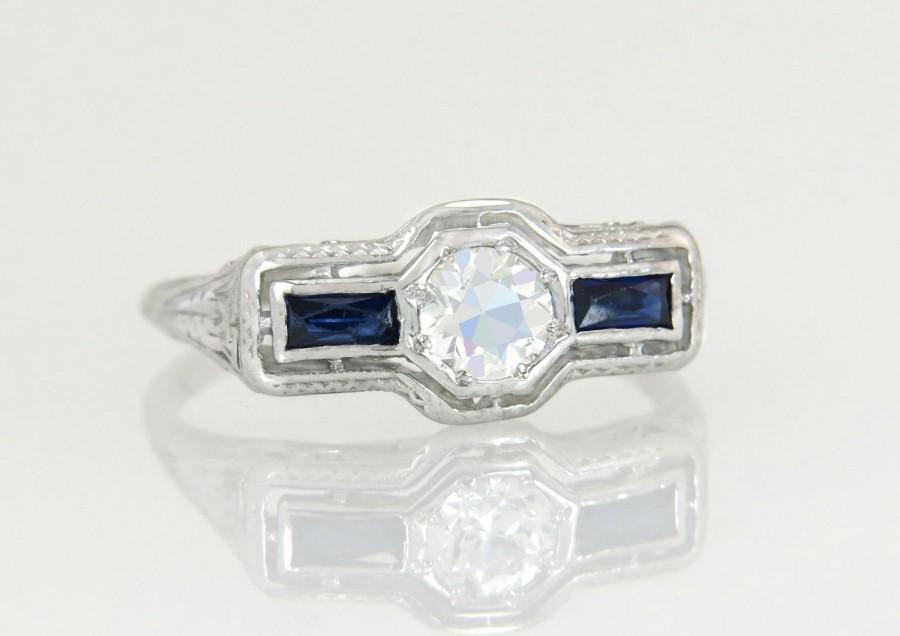 Hochzeit - Antique Art Deco 18K Gold .40ct Genuine Diamond & Sapphire Filigree Engagement Ring