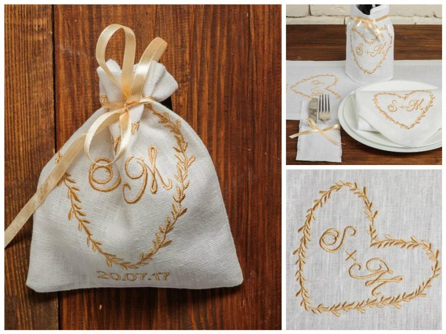 25 Personalized Wedding Embroidered Large Favor Bag