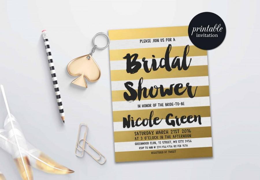 Wedding - Gold Bridal Shower Invitation printable, Gold Stripes Bridal Invitation, Black and Gold Bridal Shower Invitation, Printable Bridal Shower