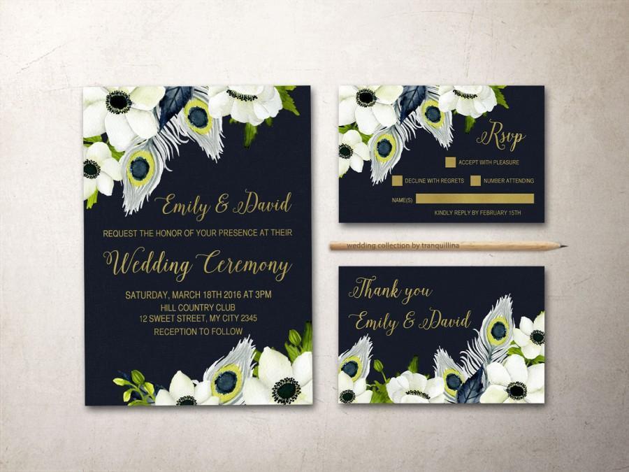 Hochzeit - Peacock Wedding Invitation Printable, Anemone Wedding Invitation, Floral Wedding Invite, Navy Gold Wedding, Printable Wedding Invitation