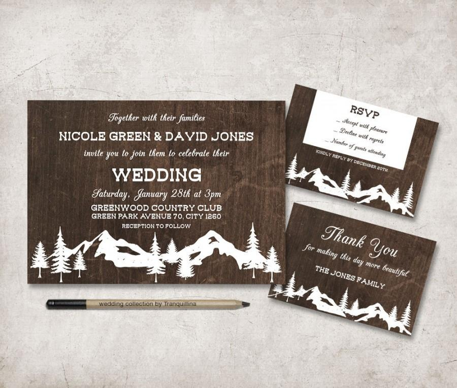 Winter Wedding Invitation Printable Rustic Wedding Invitation