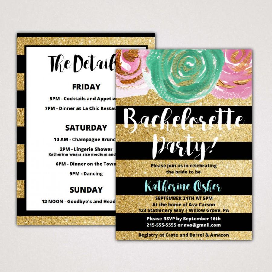 Gold And Black Bachelorette Party Invitation With Itinerary Template A Printable Glitter Weekend Invite Instant Editable Pdf K004