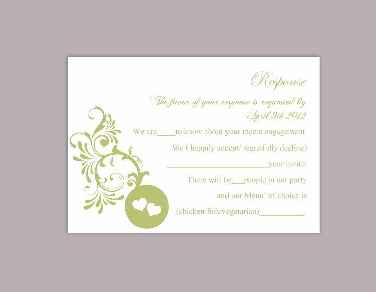 Свадьба - DIY Wedding RSVP Template Editable Word File Instant Download Rsvp Template Printable RSVP Cards Green Rsvp Card Elegant Rsvp Card - $6.90 USD