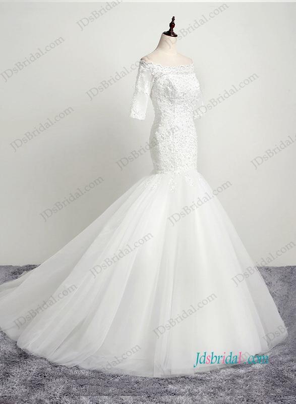 Wedding - H1192 Petite off shoulder key hole back lace mermaid wedding dress