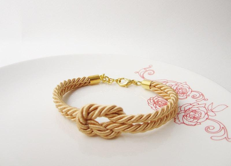 Tie The Knot Bracelet Bridesmaid Gift Nautical Maid Of Honor Baby Shower Beach Wedding Rope In Gold 9 00 Usd