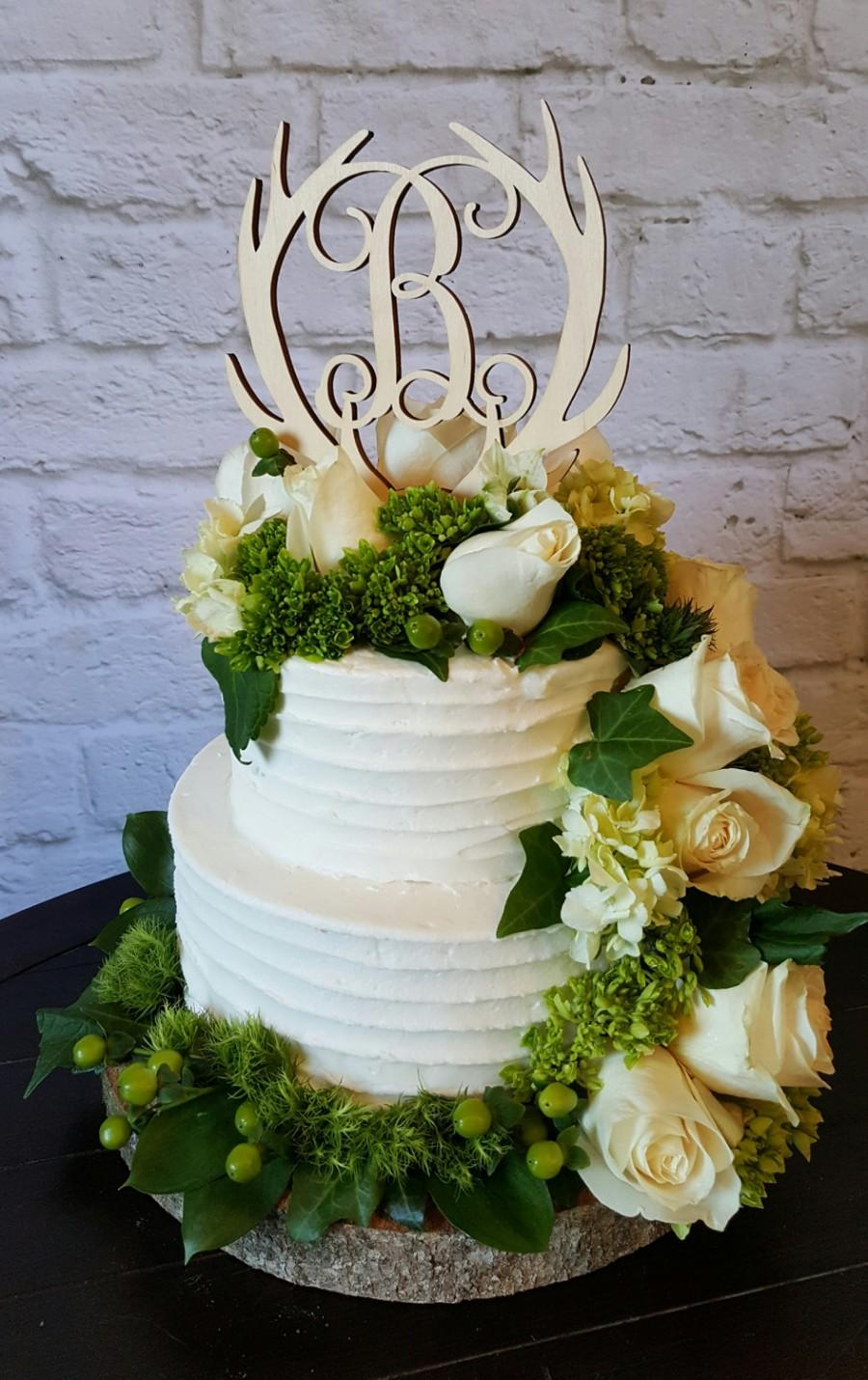 Wedding - Antler Cake Topper - UNPAINTED Wooden Monogram Cake Topper - Wedding Cake Topper - Birthday Cake Topper