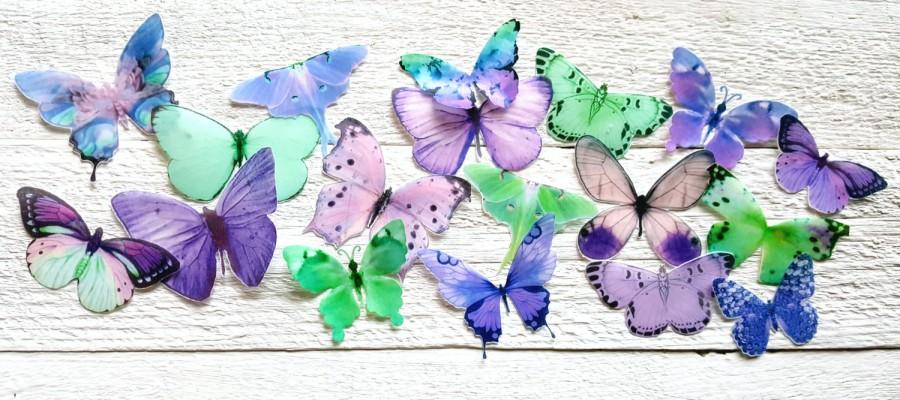 Wedding - 18 Purple Lilac Mint Green Butterfly Cake Toppers