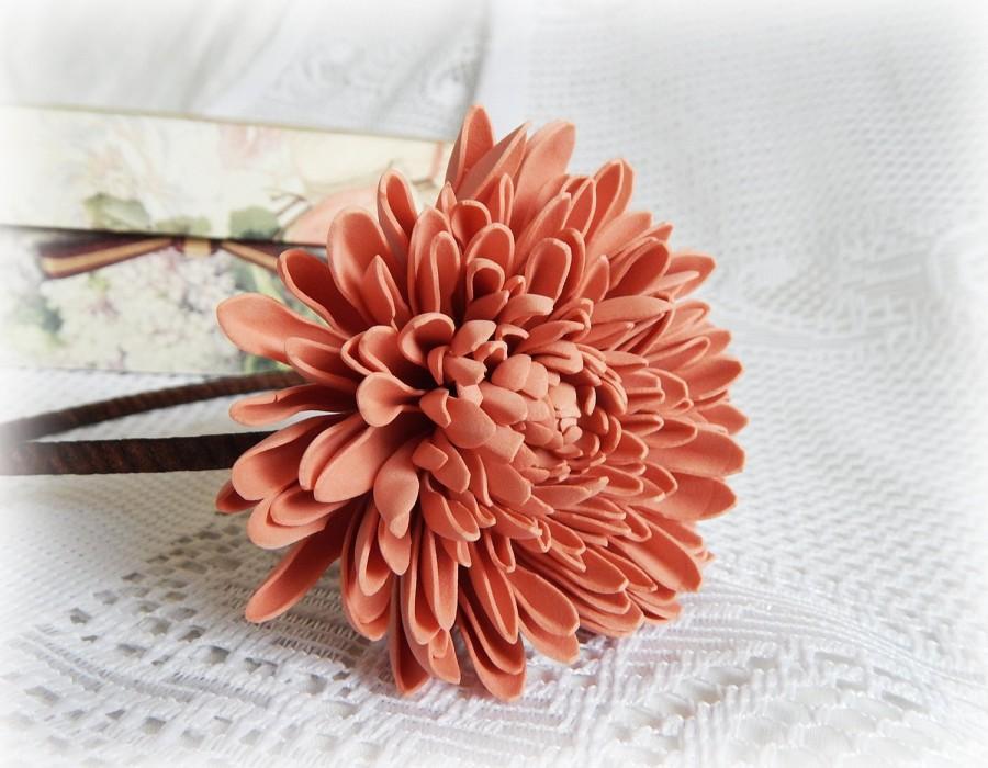 Hochzeit - Salmon pink floral crown, Girl hair band, Floral headpiece, Flower accessories, Chrysanthemum, Big flowers, Floral hair piece, Toddler crown