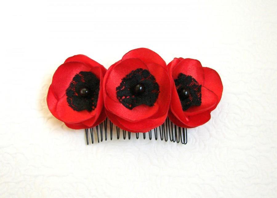 زفاف - Poppy hair comb Flower hair comb Red hair comb Hair accessory Red Bridal Red hair comb Bridesmaids hair comb Shabby Chic Flower comb Poppies