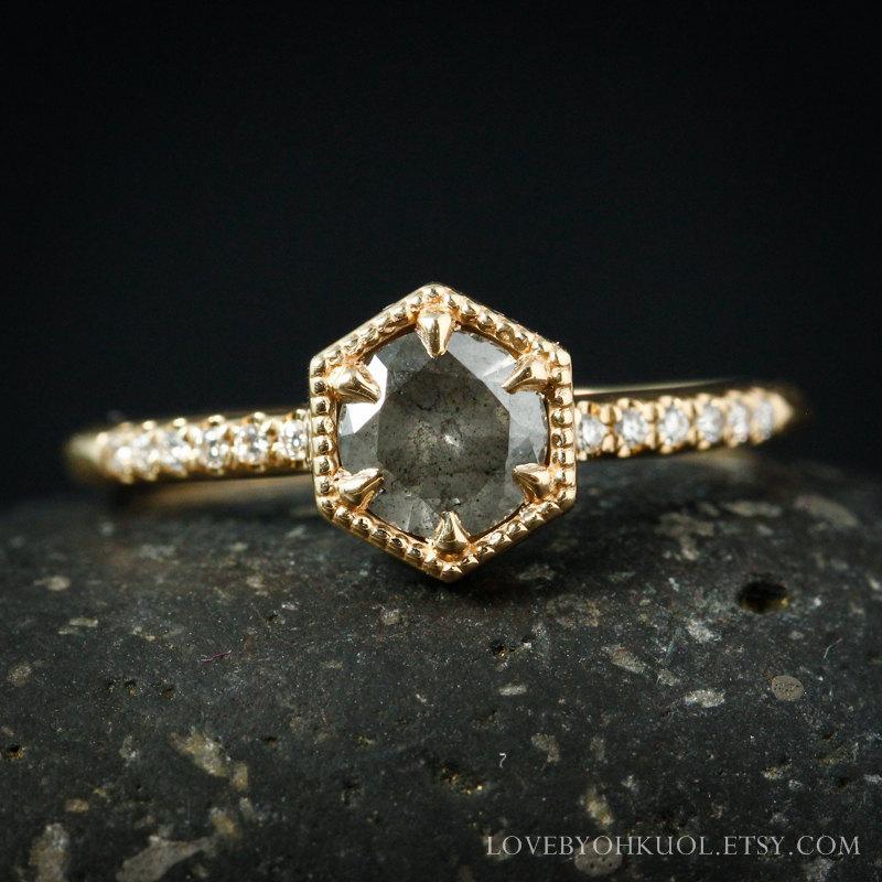 Hochzeit - Natural Grey Brilliant Cut Diamond Ring - Micro Pave Diamond Band - Engagement Ring