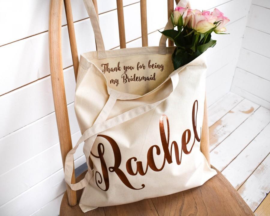 wedding thank you gift personalised bridesmaid gift tote bag