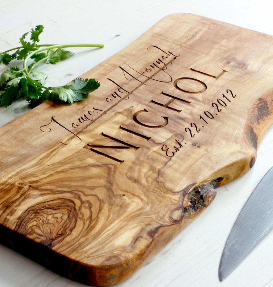 Hochzeit - Personalized Rustic Olive Wood Chopping/Cutting/Cheese Board - available in five sizes