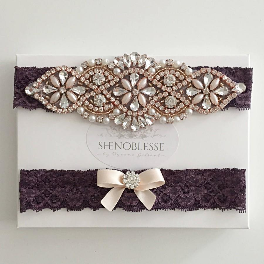 Свадьба - JUDY ~ Wedding garter,  violet garter, plum garter, purple garter, rose gold, ,rose gold garter,lace garter, bridal garter