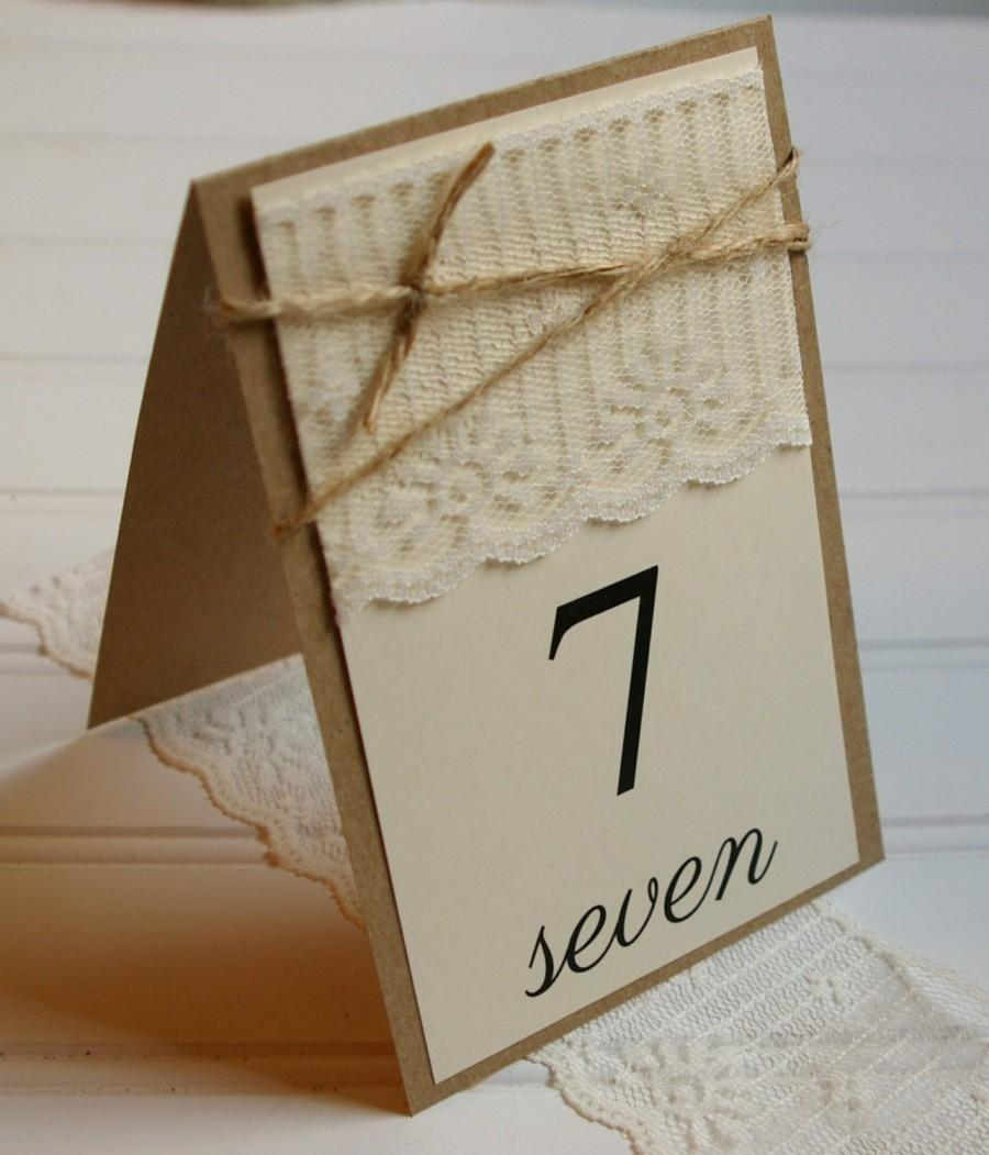Rustic Lace Table Numbers Handmade Tent Table Number Signs. Kraft Paper. Wedding Table Decor. Escort Cards. Rustic Wedding. Shabby Chic. & Rustic Lace Table Numbers: Handmade Tent Table Number Signs. Kraft ...