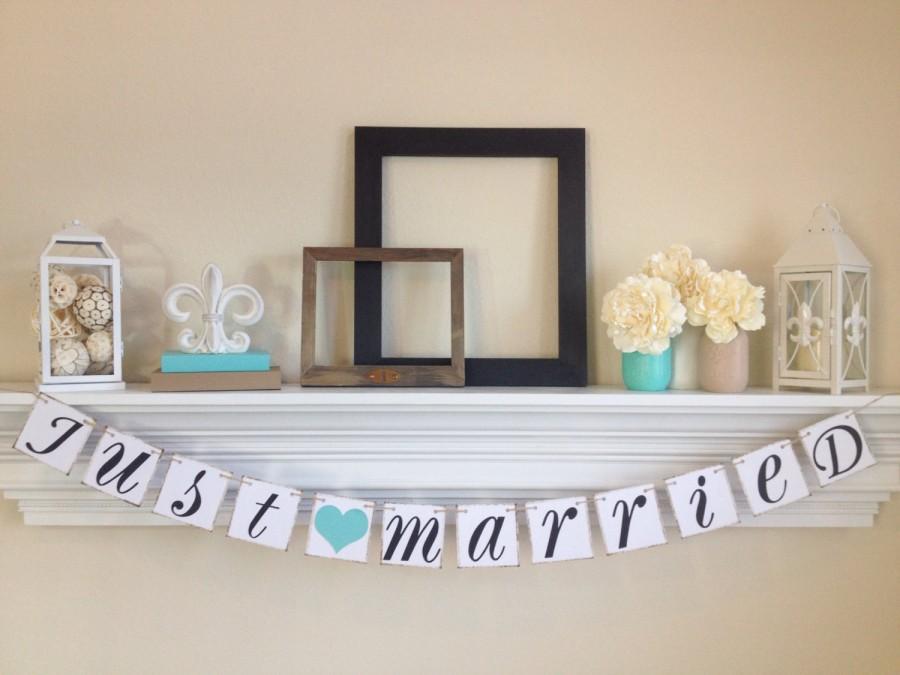 زفاف - Just Married Sign -Just Married Banner - Wedding Decoration - Just Married Car Sign - Wedding Photo Prop, Lt. Teal Wedding Decor