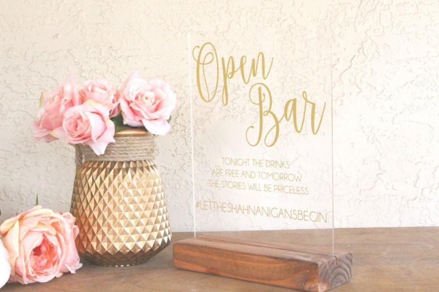 Hochzeit - Open Bar Sign - Open Bar Sign for Wedding - Wedding Open Bar Sign - Acrylic Wedding Sign - Acrylic Sign - Clear Wedding Sign - Funny Sign