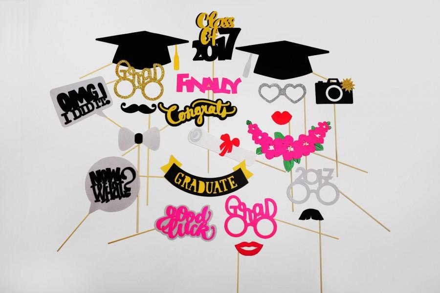 Hochzeit - Graduation Photo Booth Props - Class of 2017 Graduation Party - Graduation PhotoBooth Props 2017 - Graduation Party Props
