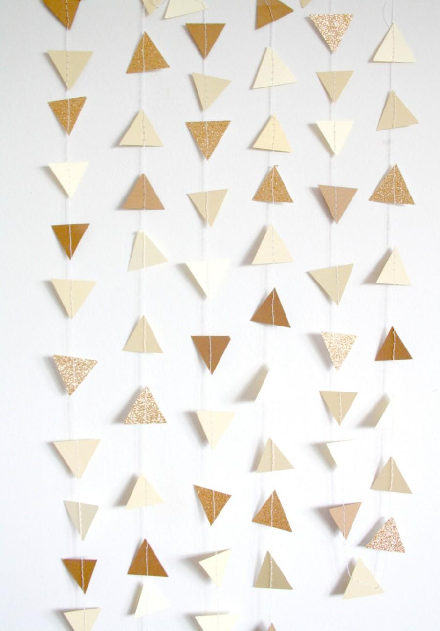 Wedding - Gold, Neutral, Nude and Champagne Glitter Triangle Bunting Garland - Gold Wedding Decor - Rustic Burlap and Lace, Shabby Chic Neutrals