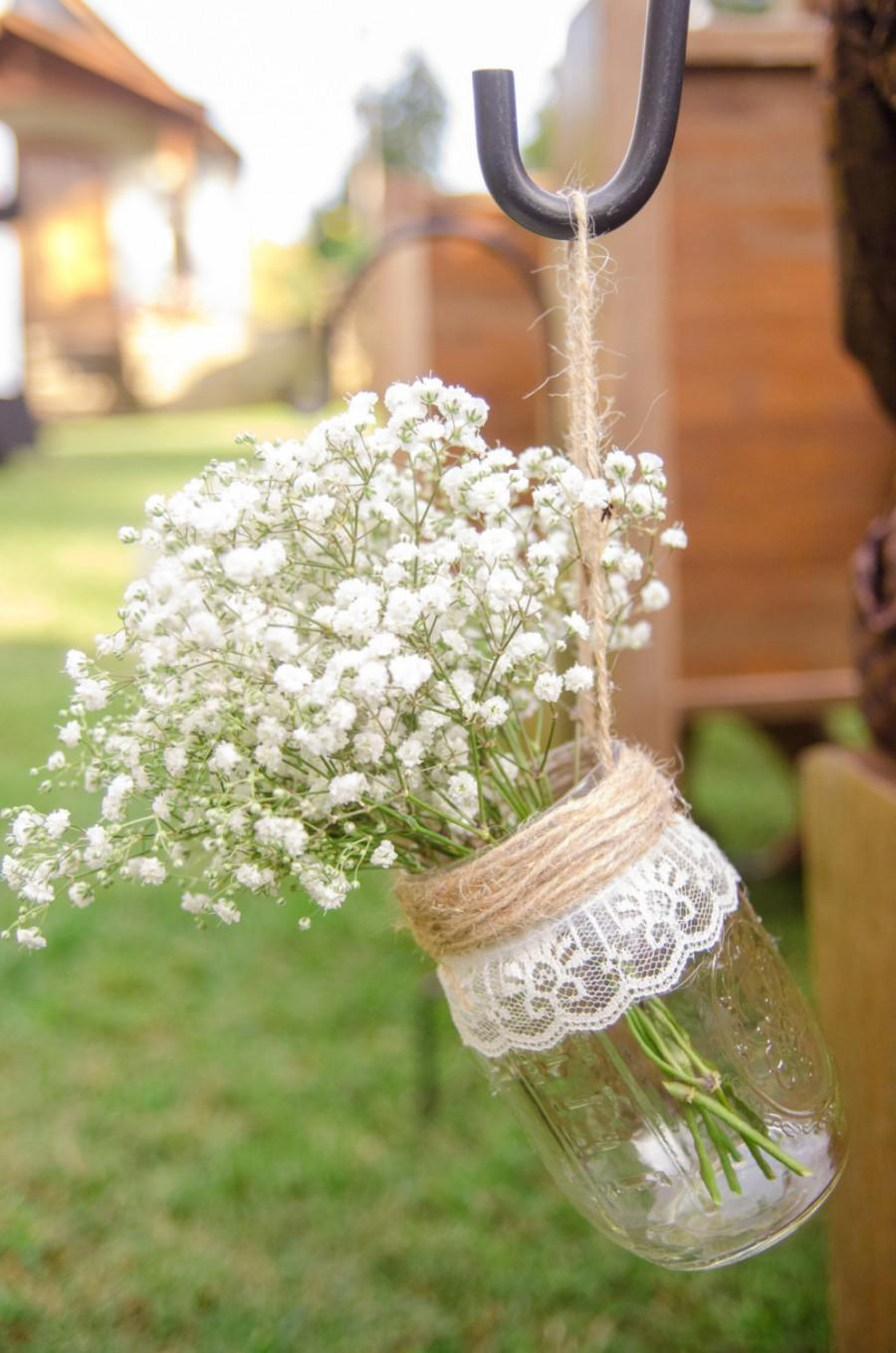 Hanging Mason Jars, Mason Jar Decorated, Rustic Wedding Decor ...