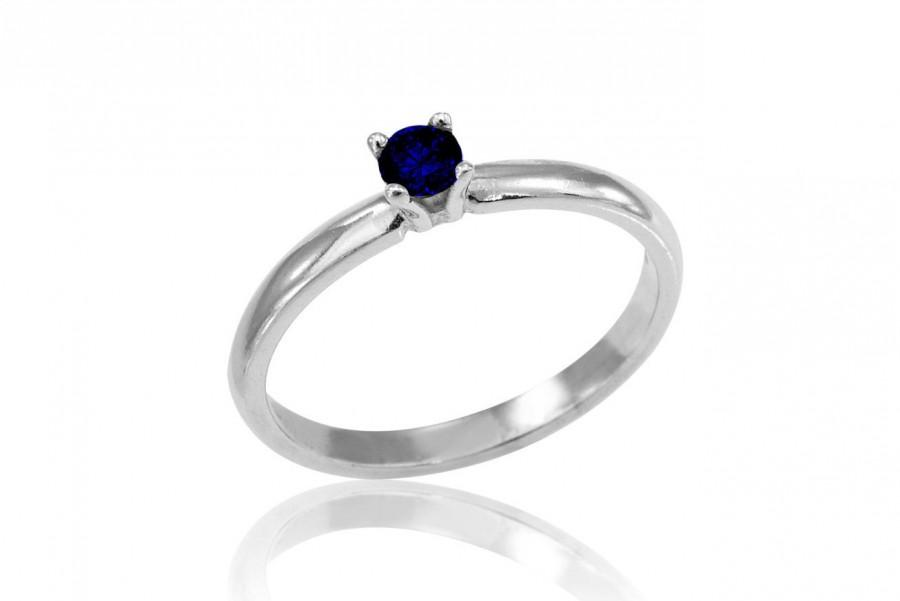 Hochzeit - Sapphire Engagement Ring, 14K White Gold Sapphire Ring, Solitare Sapphire Ring, Sapphire Band, Free Shipping