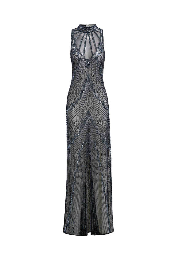 Mariage - Susan Embellished Ivory Dress, 1920s Great Gatsby Style, Sequin Cocktail Dress, Alter Neck Wedding Reception Dress, Bridesmaid Gown, S-XXXL