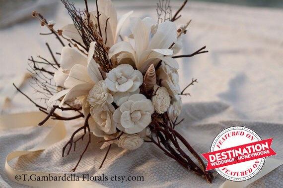 Hochzeit - Bridal Bouquet Sola Flower Lily, Sea Fan, Shell Bridal Bouquet with Photo Charm