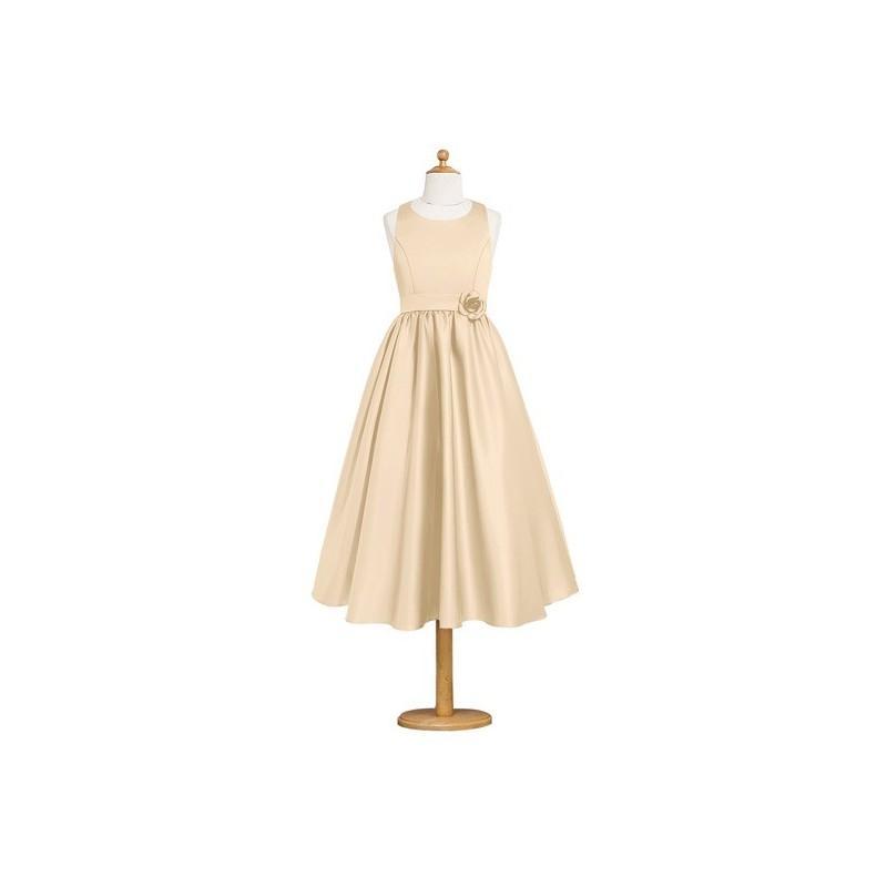 Mariage - Champagne Azazie Coraline JBD - Scoop Tea Length Satin Strap Detail Dress - Cheap Gorgeous Bridesmaids Store
