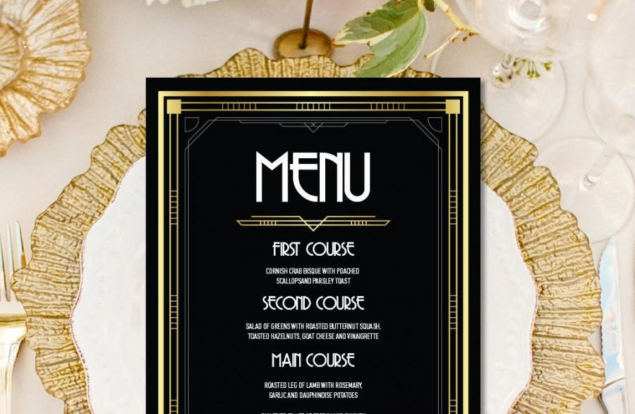 Hochzeit - Custom menu, art deco menu, great gatsby decorations, art deco wedding menu, custom bar sign, bar table sign, custom menu sign, custom menu