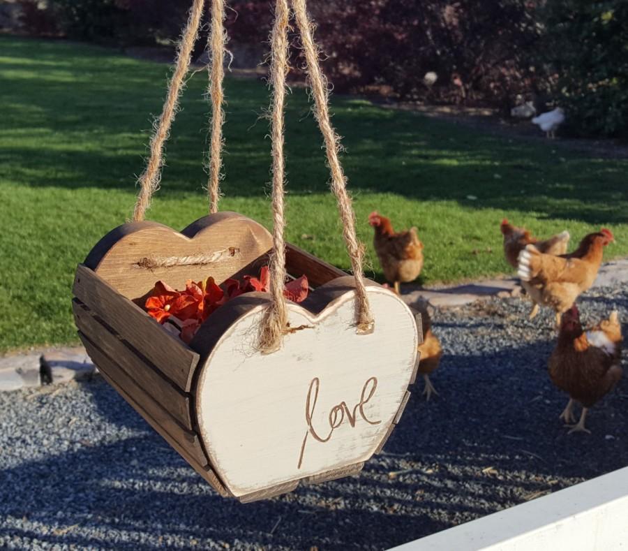 Wedding - Wooden Heart Flower Girl Basket, Flower Girl Basket, Rustic Flower Girl Basket, Flower Basket for Wedding, Rustic Wedding, Flowergirl Basket