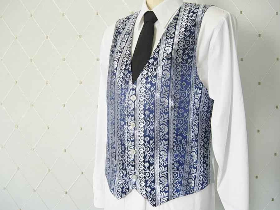 Boda - Men's Vest, Brocade, Blue Vest, Silver Vest, Wedding Vest, Groom Vest, Groomsmen Vest, Men's Waistcoat, Men's Suit, Groom's Vest