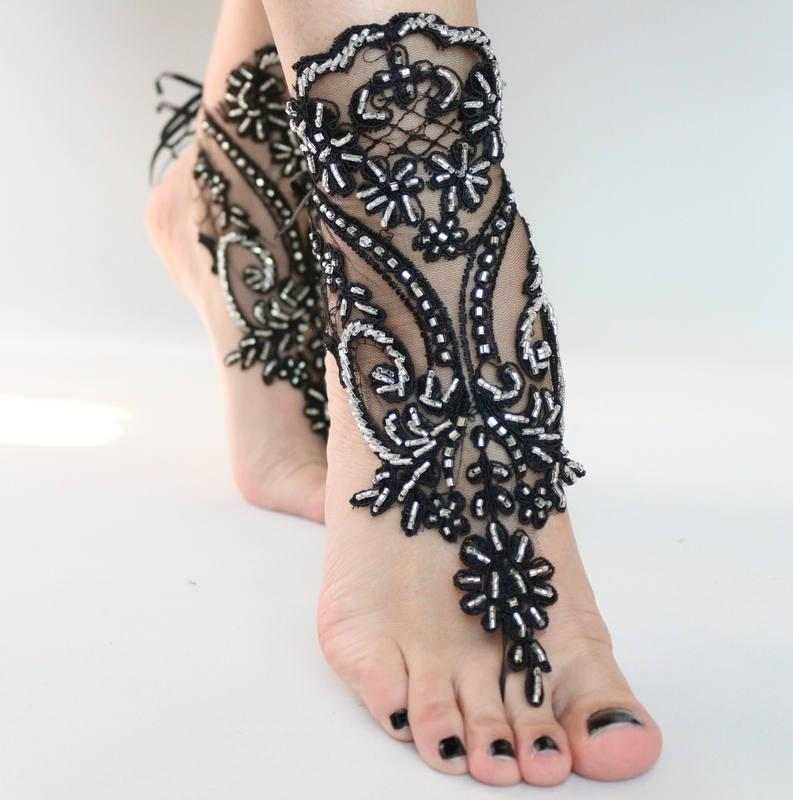 Wedding - Black Silver Beaded Beach wedding Barefoot Sandals Lace Barefoot Sandals, Lace Barefoot Sandals, Bridal Lace Shoes,Foot Jewelry Belly Dance, - $45.90 USD