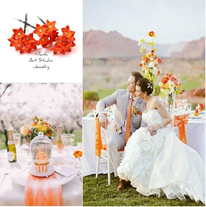 زفاف - Cheerful Fall Orange Wedding Ideas Orange is an