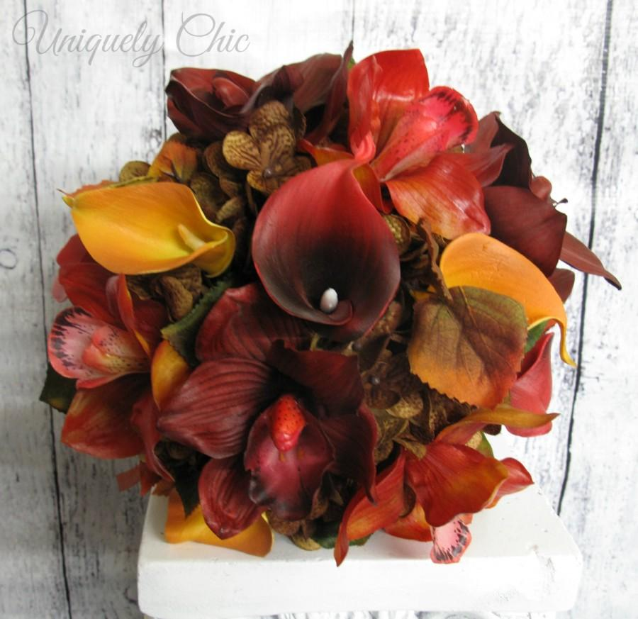Wedding - Autumn Wedding bouquet, Fall bridal bouquet, Real touch orchid calla Fall bouquet, Red, orange, and brown wedding, Silk bouquet