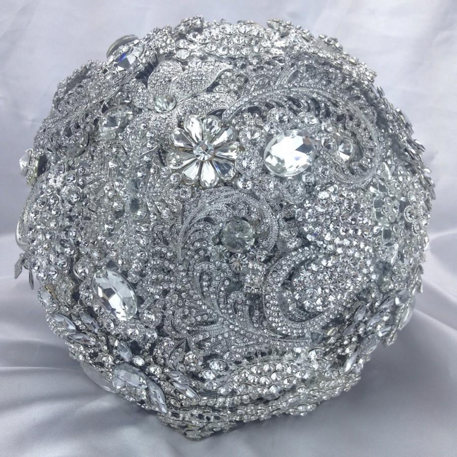 Wedding - Classic Very Full and Rich White Diamond Jeweled Bouquet. Deposit on Alternative Crystal Bling Diamond Jeweled Bridal Broach Bouquet