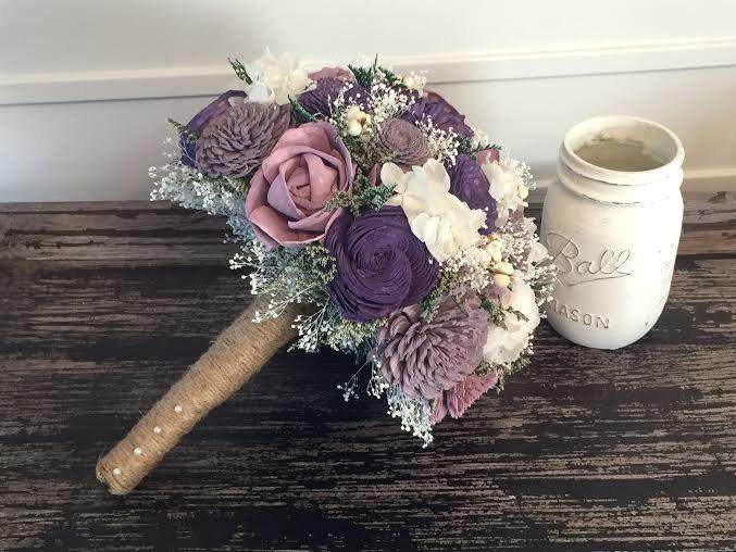 Wedding - Plum, Lavender and Purple Wedding Bouquet -sola flowers - Customize -bridal bouquet - Alternative bouquet - bridesmaids bouquet -rustic