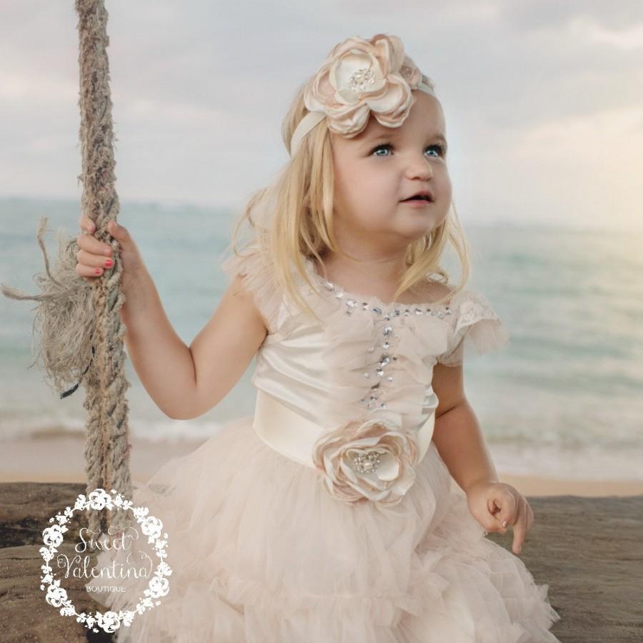 Wedding - Flower Girl dress, Ivory flower girl dress, Rustic flower girl dress, Girl dress,Tulle dress, Country flower girl, Junior bridesmaid.