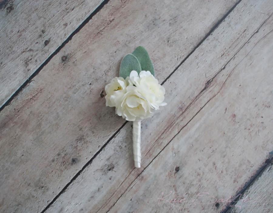 Wedding - Peony and Lamb's Ear Wedding Boutonniere - Silk Wedding Boutonniere