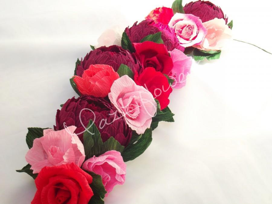 Wedding - Wedding flower,bridal flower,paper flower,paper flower garland,wedding flower garland,paper flowers decor,garland paper.