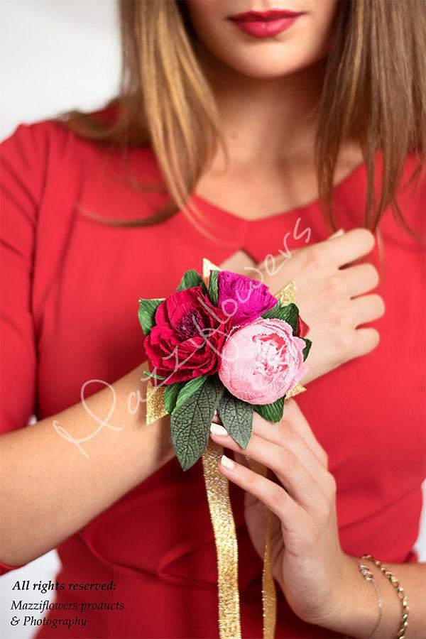 Свадьба - Wedding bouquet,paper flowers,corsage paper flowers,bridal paper flower,peony corsage,wedding corsage.