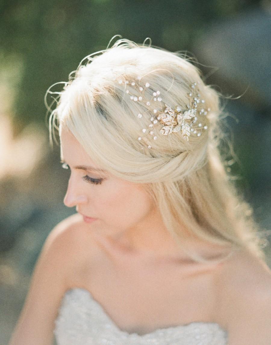 Hochzeit - Bridal Headpiece, CAITLIN Bridal Hair Comb, Swarovski Crystal Headpiece, Swarovski Comb, Gold Bridal Headpiece, Bridal Hairclip, Gold Comb