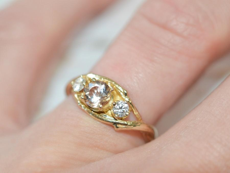Mariage - Morganite Rose Gold Ring - Diamond and Morganite Engagement Ring Nature Inspired also in Yellow Gold, White Gold or Platinum