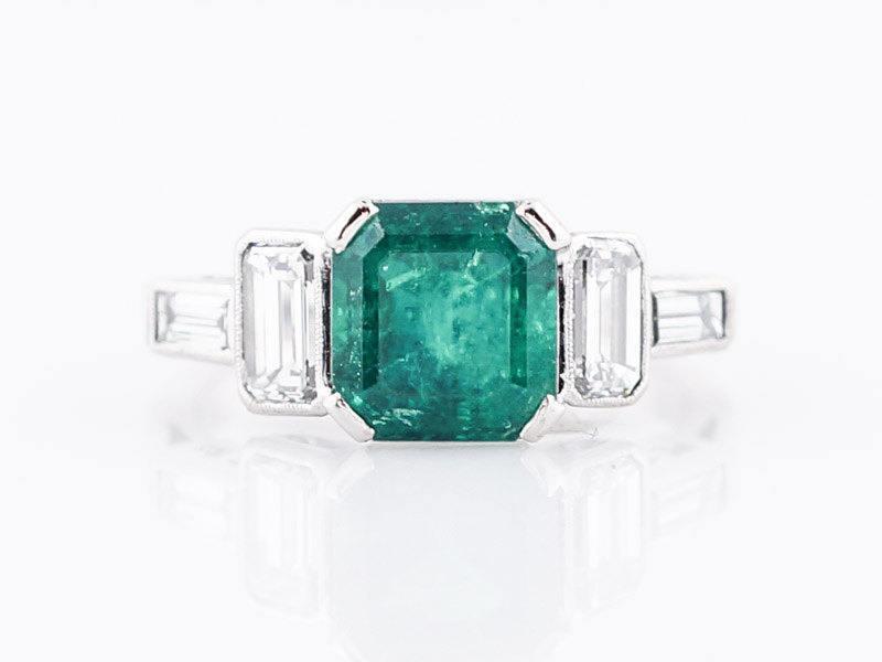 Antique Engagement Ring Art Deco 2.04 Square Cut Emerald in Platinum