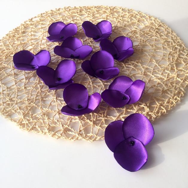 Свадьба - flower applique, 10 flowers, purple