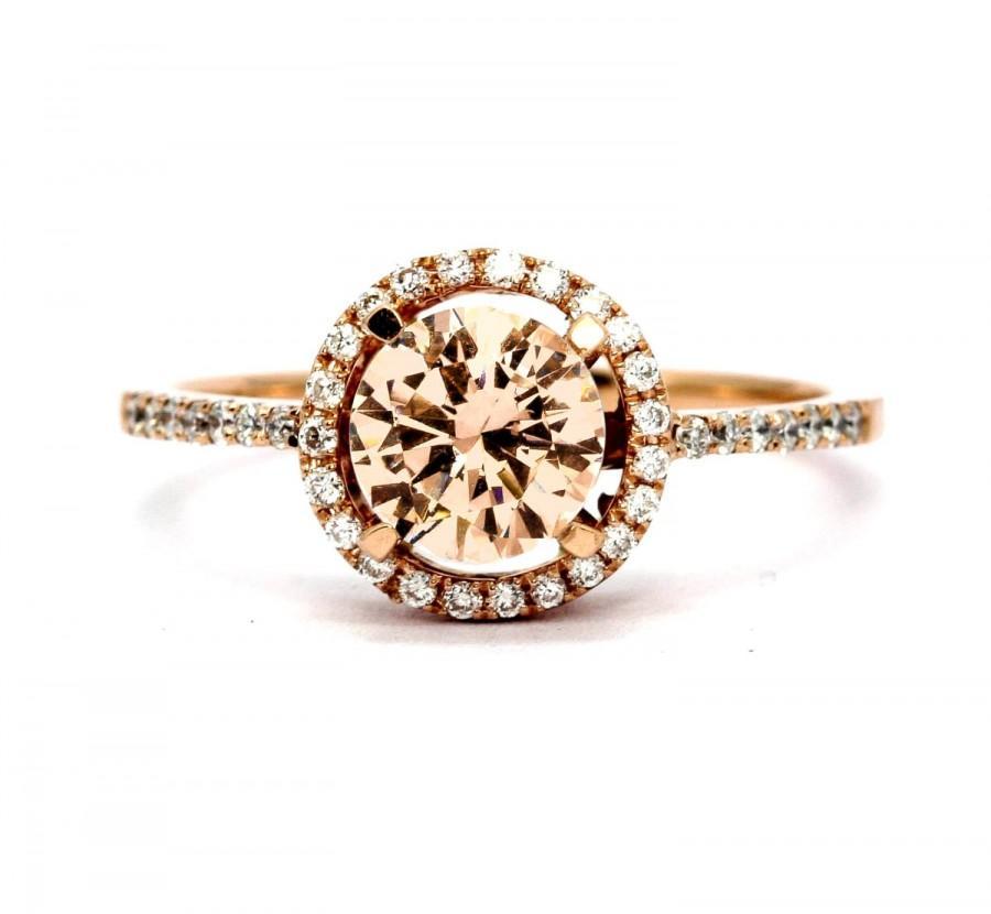 Свадьба - Rose Gold Morganite Engagement Ring, Unique Floating Halo With 1 Carat Morganite & .20 Carat Diamonds, Anniversary Ring.